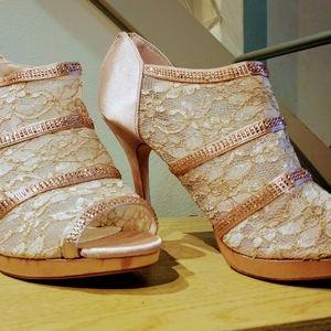 Laura Lorraine lace blush satin heels